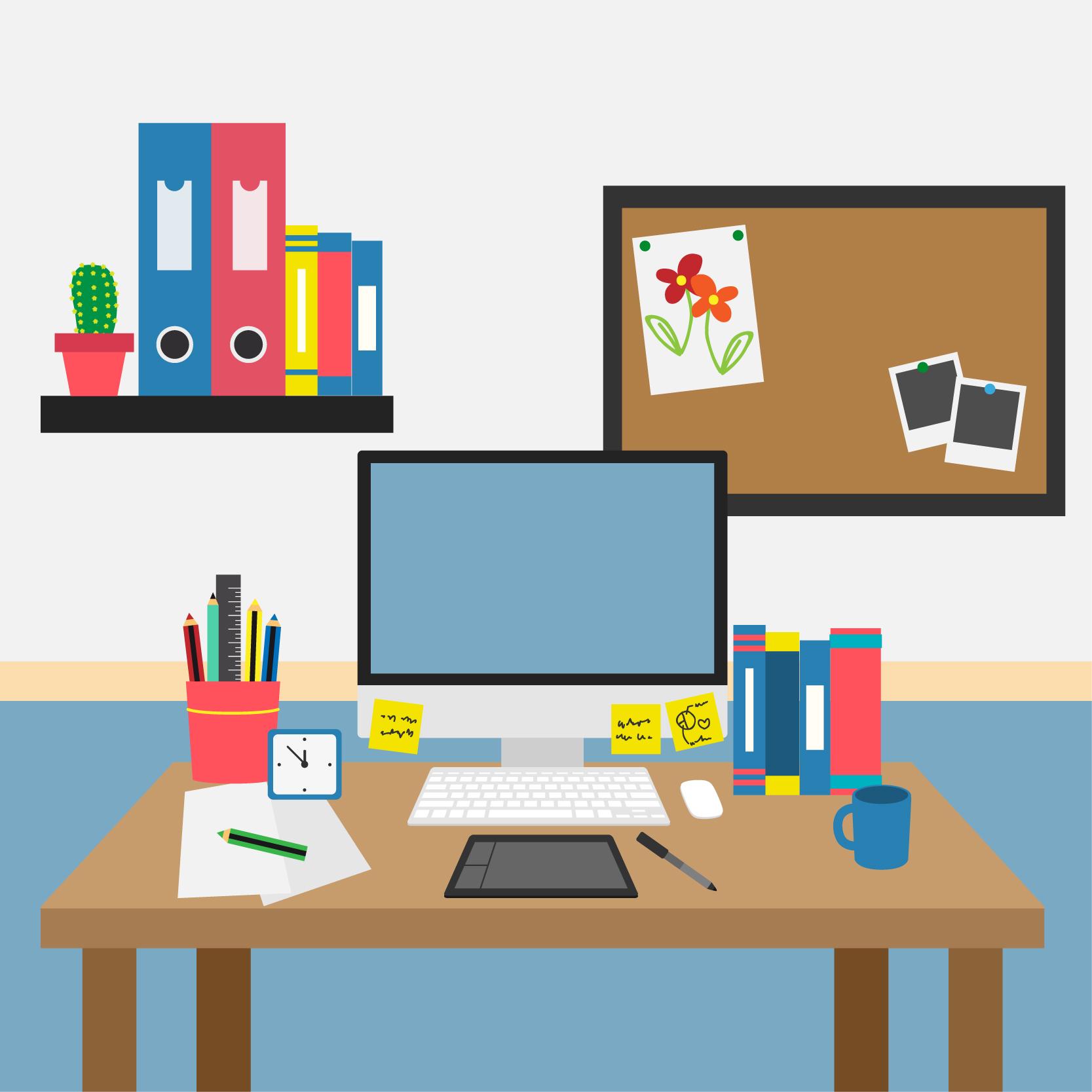 Schreibtischtyp Clutterer Messie
