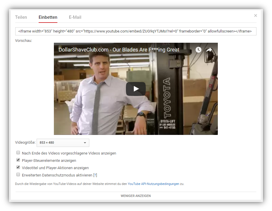 Videos bei YouTube einbetten