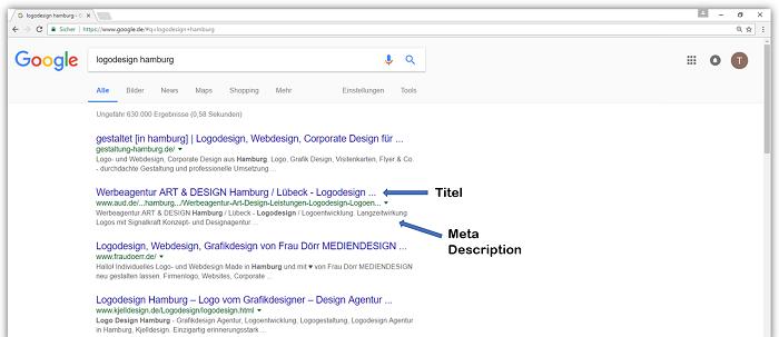 Google-Suche: logodesign hamburg