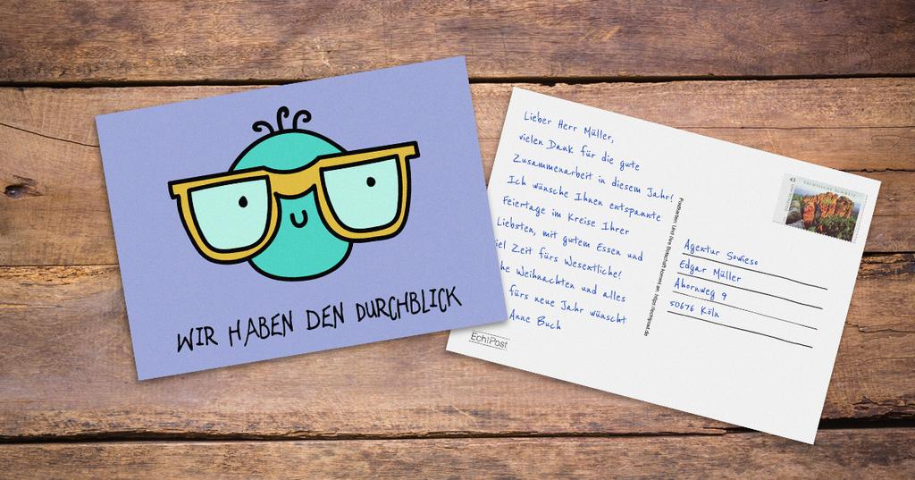 EchtPost Postkarte - wie mit der Hand geschrieben